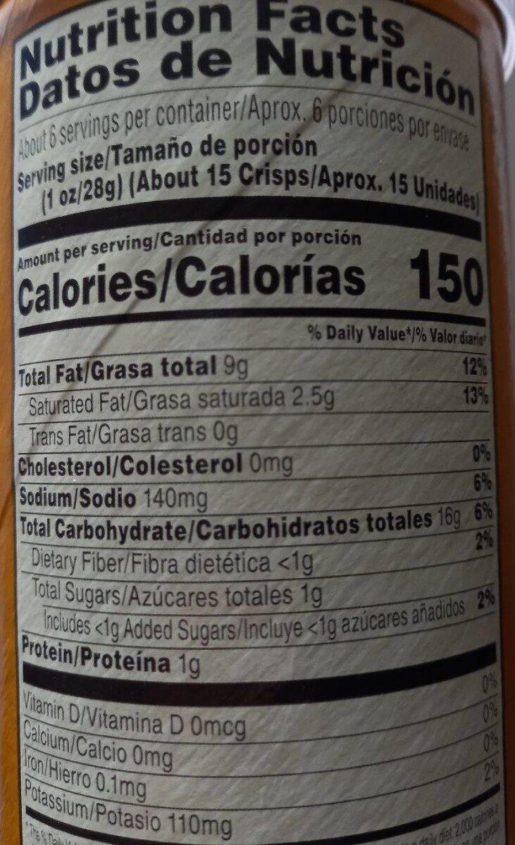 Pringles Honey Mustard - Nutrition facts - fr