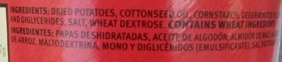 Potato crisps - Ingredientes