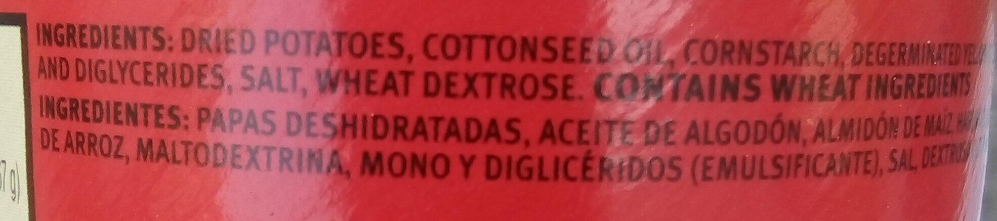 Potato crisps - Ingredientes - es
