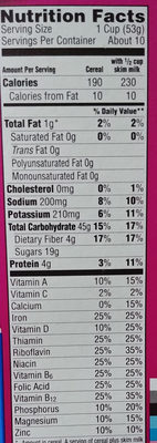 Cereal, original - Nutrition facts - en