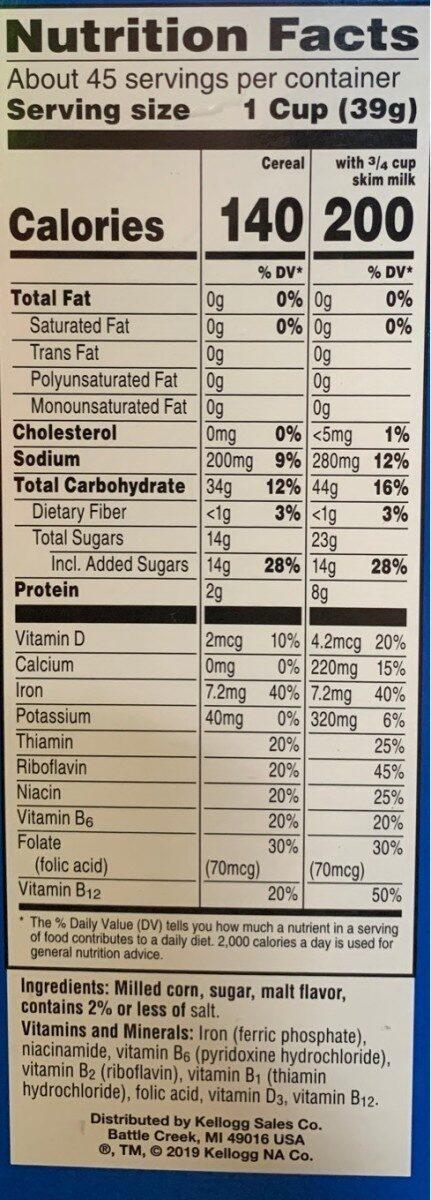 Kelloggs breakfast cereal - Informations nutritionnelles - en