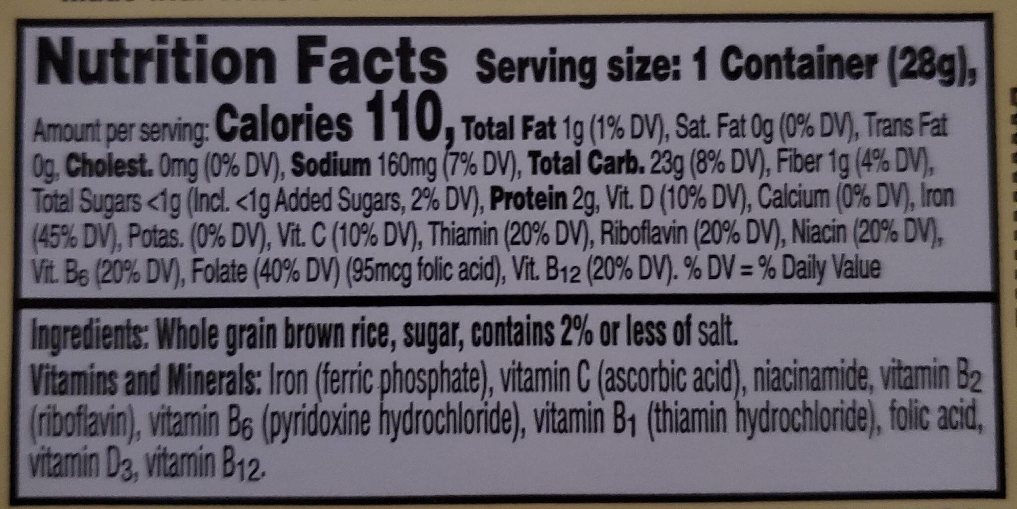 Kellogg's Rice Krispies Cereal Brown Rice Whole Grain 1oz - Nutrition facts - en