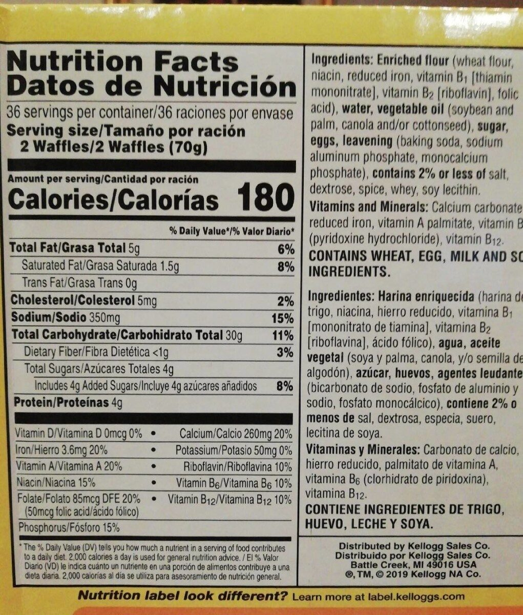 Eggo waffles - Nutrition facts - es