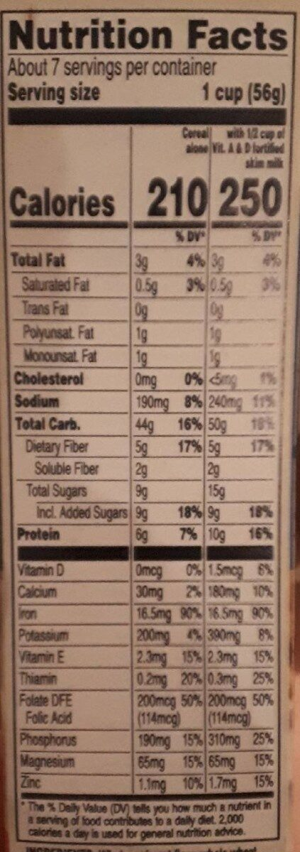 Oatmeal Square Brown Sugar - Información nutricional - es