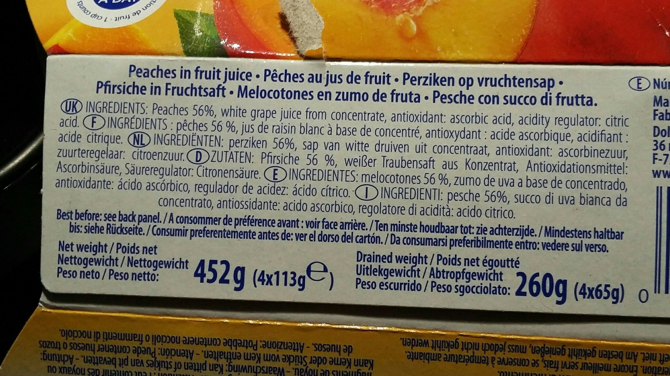 Dole Fruit In Juice, Peaches Pfirsich - Ingrédients