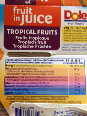 Fruit In Juice, Tropical Fruits - Informations nutritionnelles