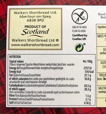 Shortbread glutenfree chocolate chip shortbread - Valori nutrizionali - en