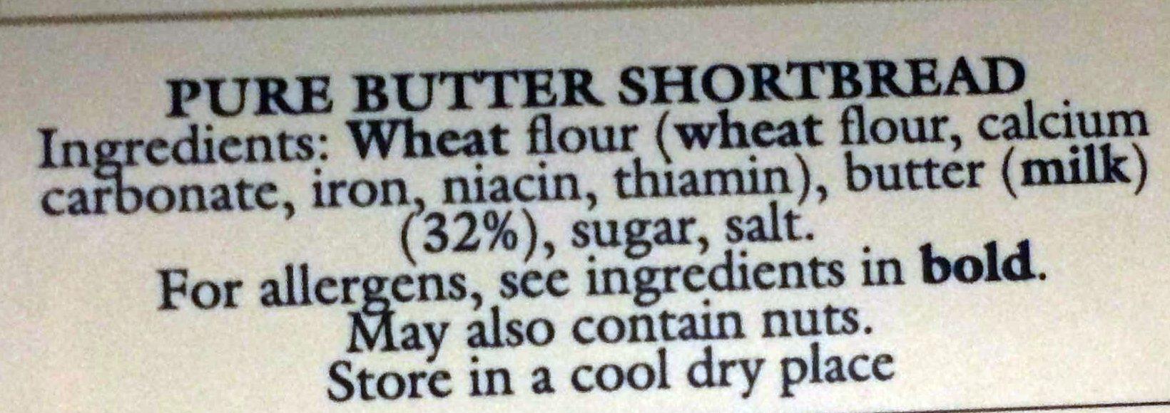 Shortbread - Ingrédients - en