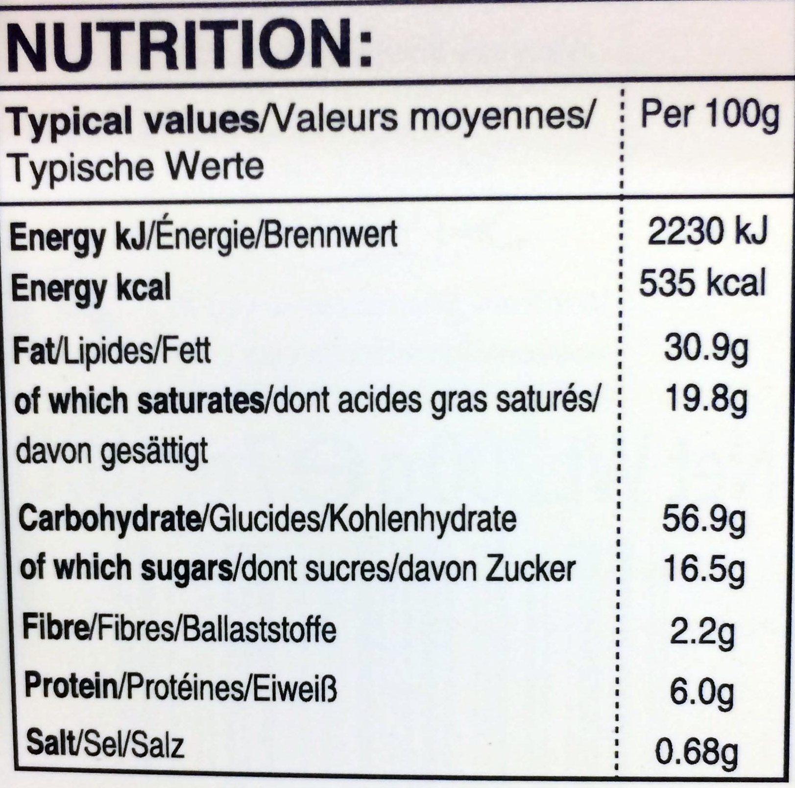 Shortbread - Informations nutritionnelles - en