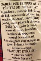 Shortbread mini rounds chocolate chip - Ingredienti - fr