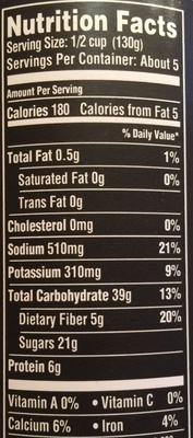 Steakhouse Recipe Grillin' Beans - Nutrition facts