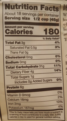 Quick Cooking Rolled Oats - Nutrition facts - en