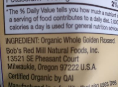 Golden Flaxseed Meal - Ingredients