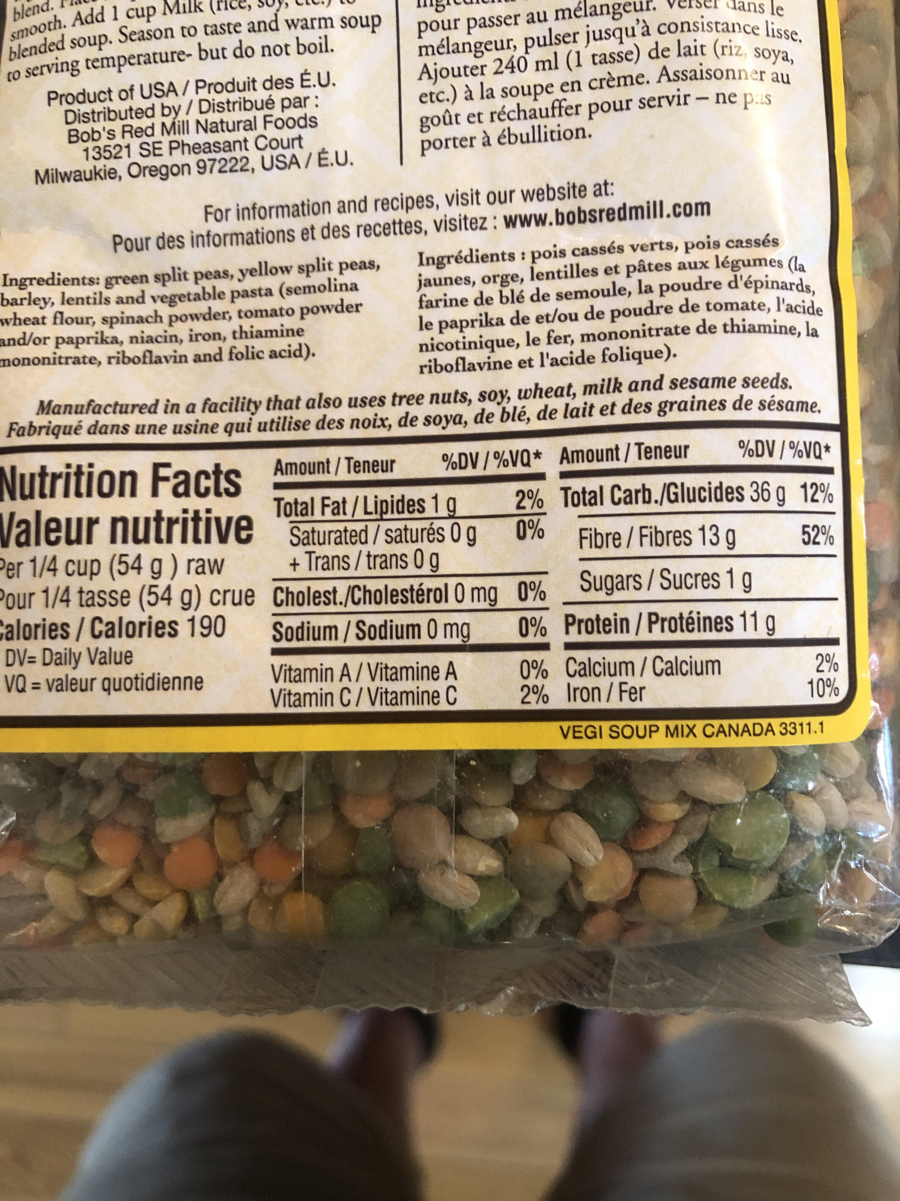 Mélange pour soupe aux légumes - Informations nutritionnelles - fr