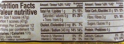 Préparation pour Scones Écossais à l'avoine et aux raisins - Nutrition facts