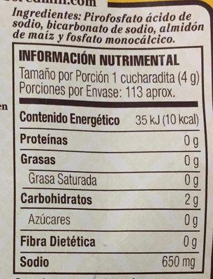 Polvo para hornear sin gluten Red Mill - Nutrition facts - es