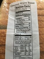 Canadian white bread - Nutrition facts
