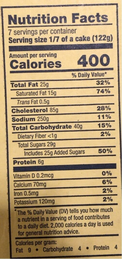 New York Deli Style Cheesecake - Nutrition facts - en