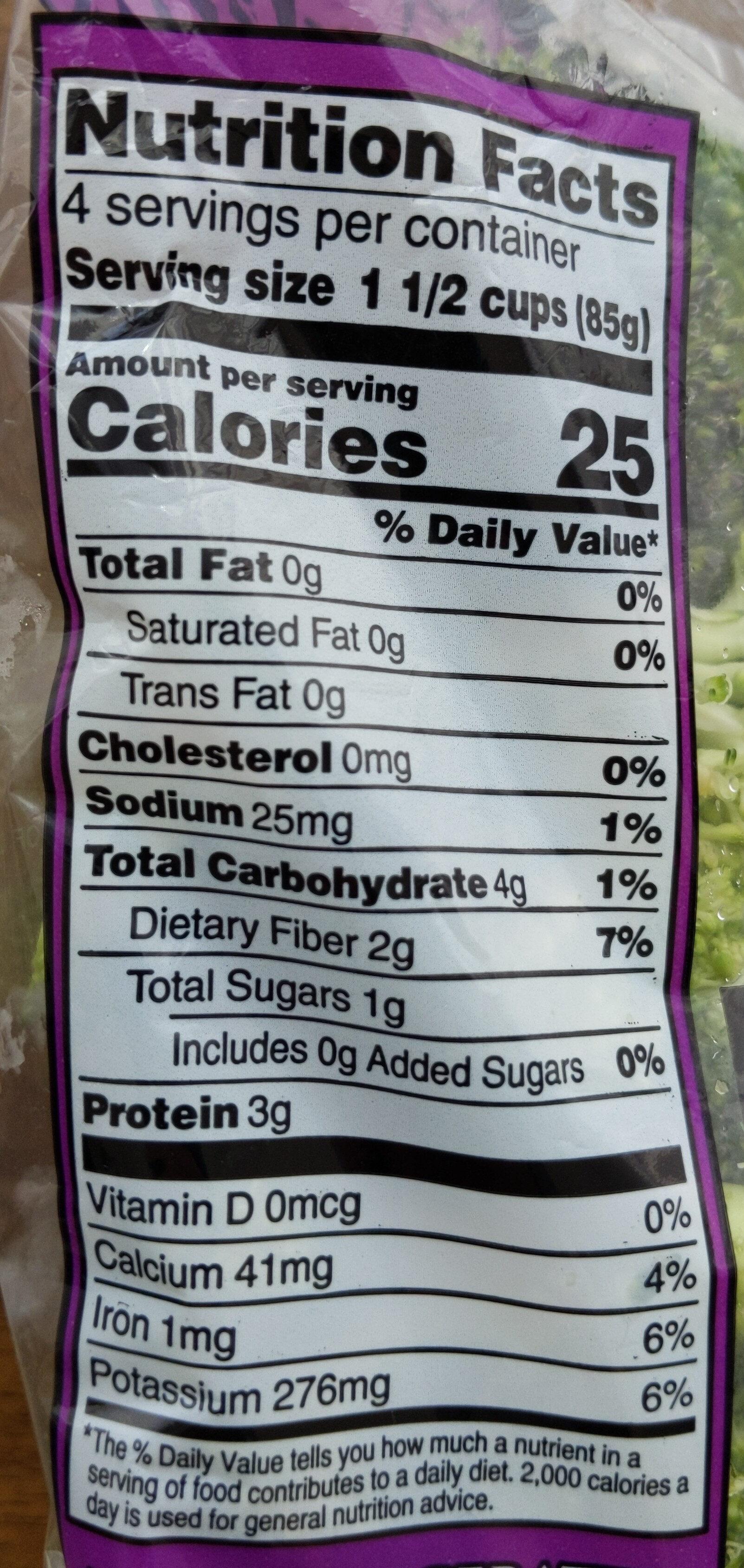 broccoli florets - Nutrition facts - en