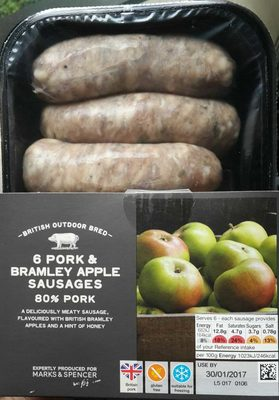 6 Pork & Bramley Apple Sausages - Product