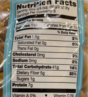 Fusilli Pasta, Whole Wheat - Nutrition facts - fr