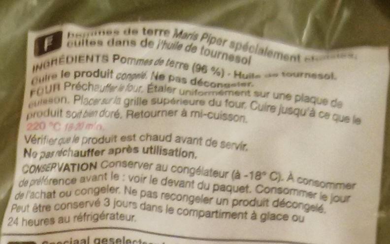British Maris Piper Just Bake Chips - Ingrédients - fr