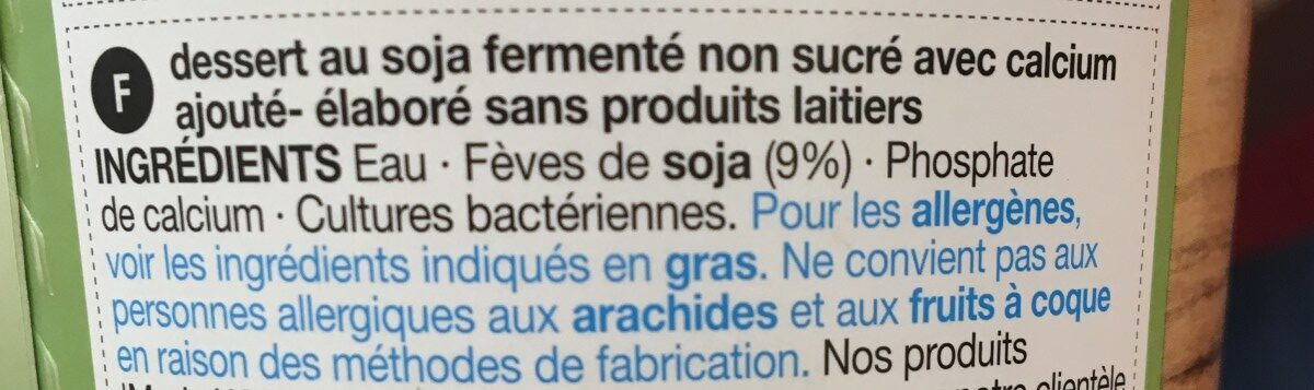 Plain soya pot - Ingrédients - fr