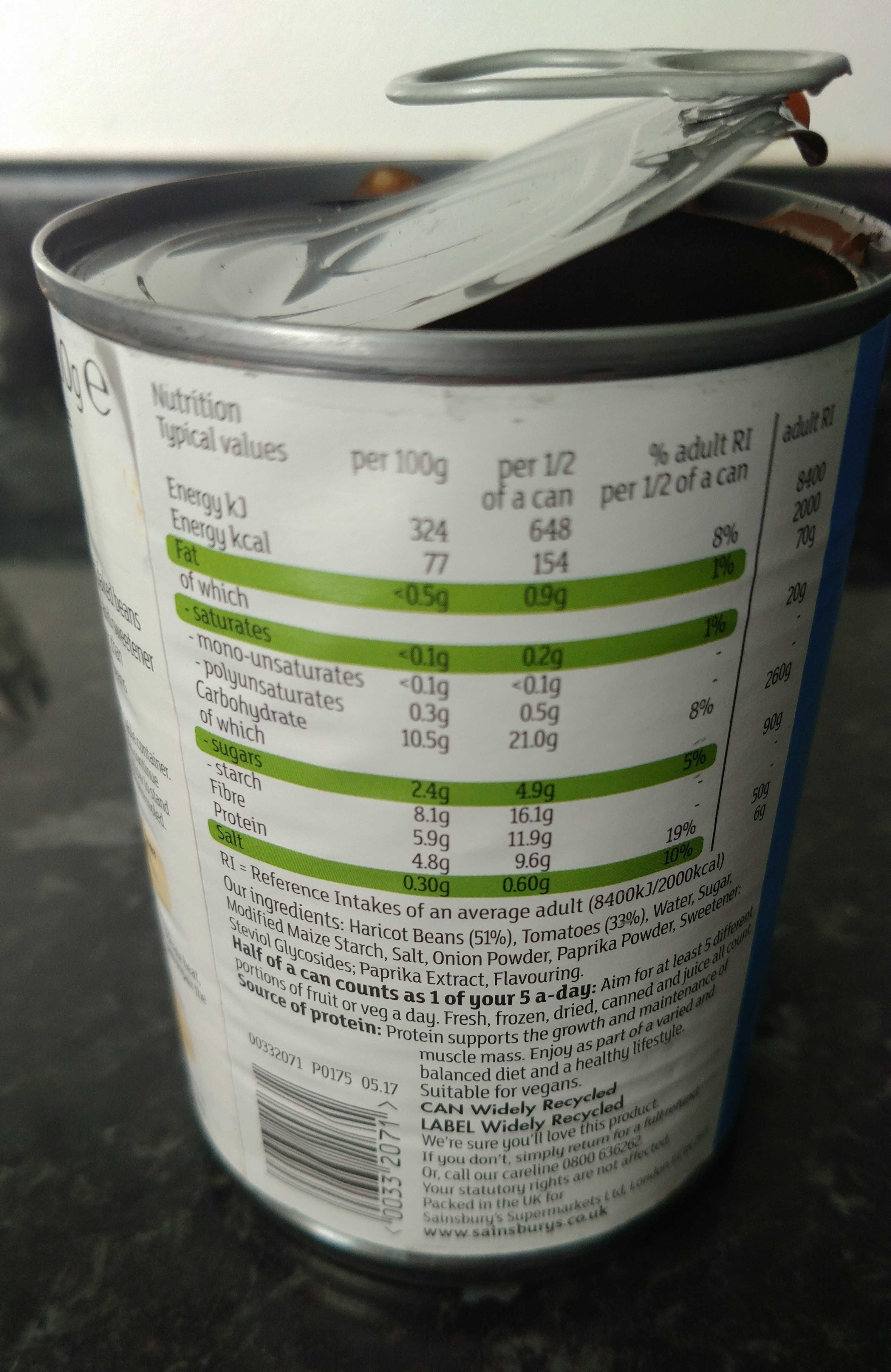 Baked Beans (Reduced Sugar & Salt) - Nutrition facts