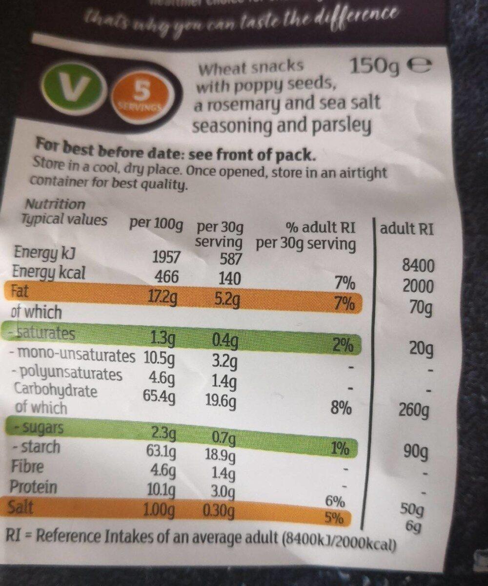 Sea salt rosemary flatbread chips - Informations nutritionnelles - en