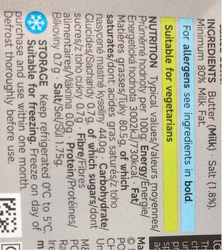 Beurre - Nutrition facts - en