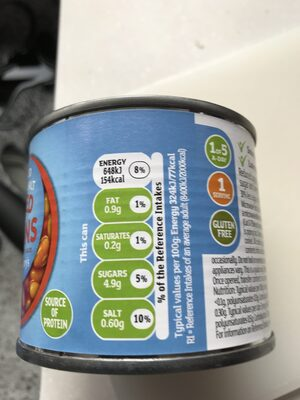 reduced salt sugar baked beans - Informations nutritionnelles