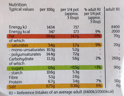 Organic Houmous - Nutrition facts - en