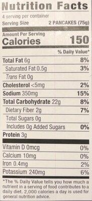 Potato pancakes - Nutrition facts - en