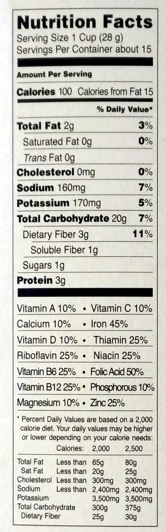 Joe's O's - Informations nutritionnelles - en