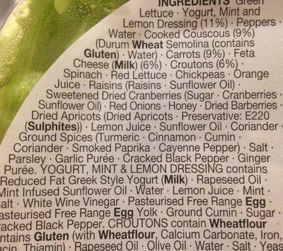 Fruity Couscous & Carrot Salad - Ingrédients