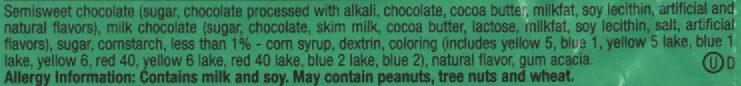 M &M'S Mint - M &M'S à La Menthe Et Chocolat Noir - Ingredients - en