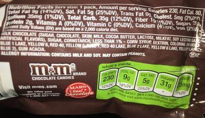 M &M Milk Chocolate Candy - Ingredients - fr