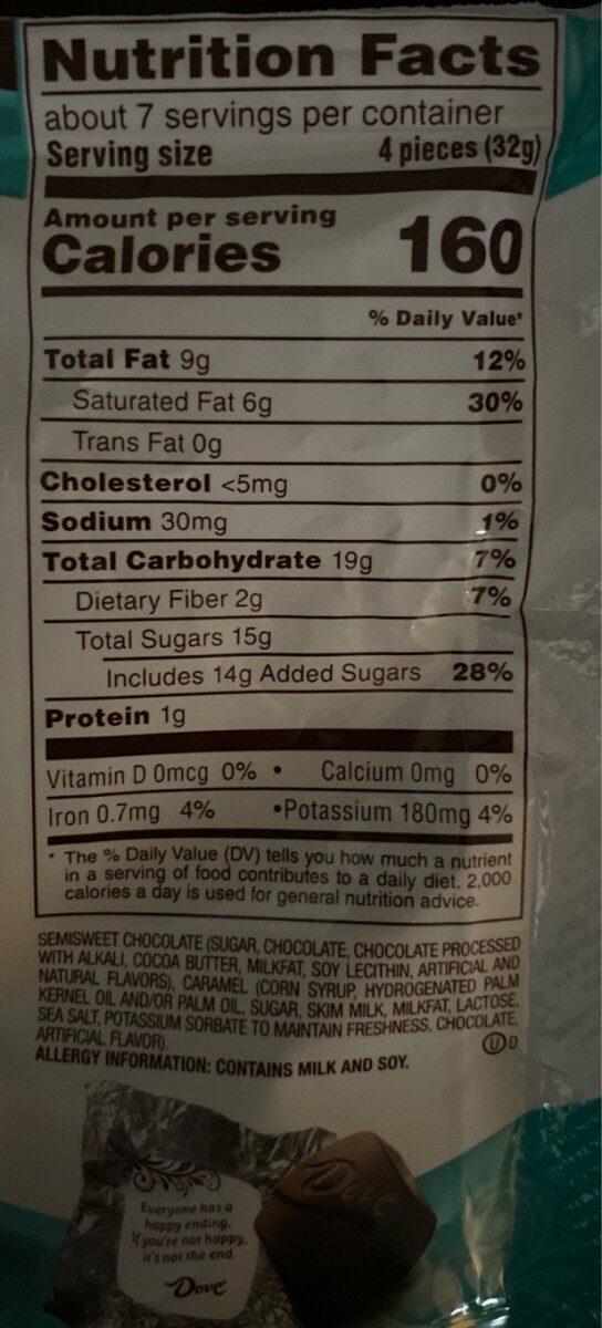 Silky smooth promises dark chocolate & sea salt caramel bar - Nutrition facts - en