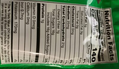 Mm's crunchy mint chocolate candies - Nutrition facts - en