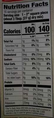 Simply homemade baking mix cornbread - Nutrition facts