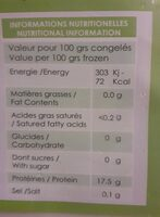 Pavés de daurade - Informations nutritionnelles - fr