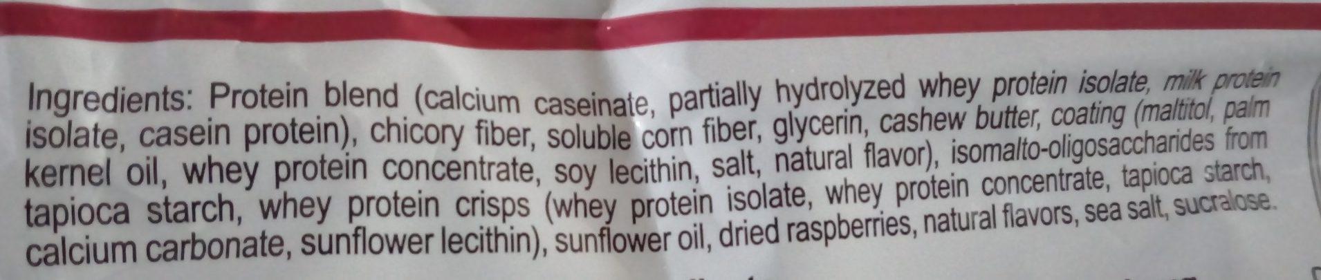 Barre protéinée framboise chocolat blanc - Ingredients