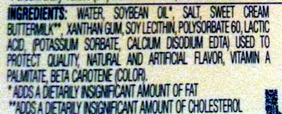 Spray Butter - Ingredients