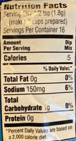 Onion dip mix - Nutrition facts - en