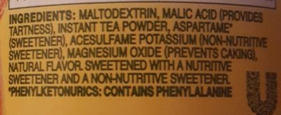 Lipton, diet low calorie iced tea mix, lemon natural flavor - Ingredients - en