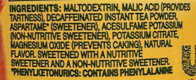 Lipton, decaffeinated diet iced tea, lemon natural flavor - Ingredients - en