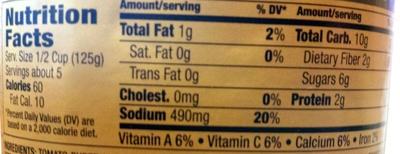 Pasta sauce - Nutrition facts - en