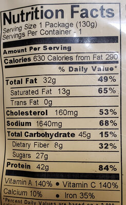 Freeze dried barbecue sauce with beef - Nutrition facts