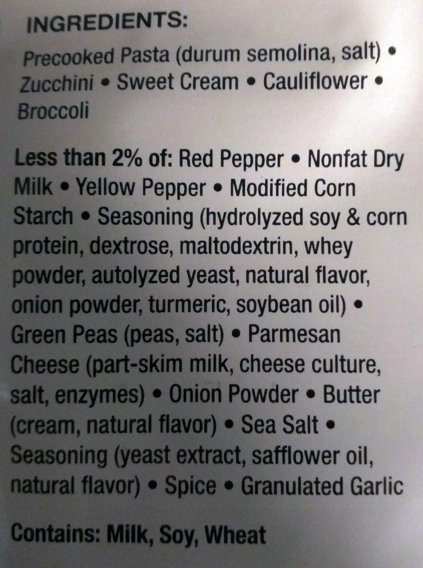 FREEZE DRIED PASTA PRIMAVERA - Ingredients