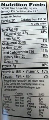 FREEZE DRIED PASTA PRIMAVERA - Nutrition facts